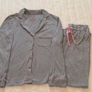 Victoria's Secret Gray/Pink Pajama Set. XS Short